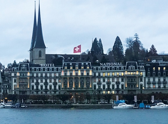 The city of Lucerne looks solemn in the autumn dusk