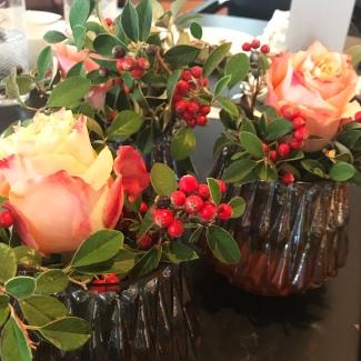 Delicate flowers brighten the breakfast table